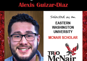 Photo of Alexis Guizar-Diaz next to text congratulating him with red textured border.