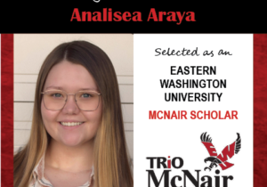 Photo of Analisea Araya next to text congratulating her with red textured border.