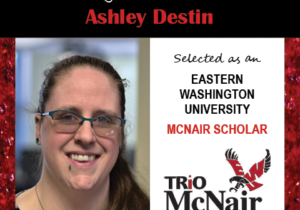 Photo of Ashley Destin next to text congratulating her with red textured border.
