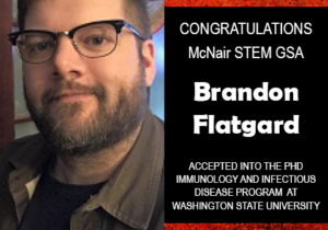 Photo of Brandon Flatgard next to red background with text congratulating Brandon.
