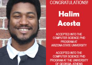 Photo of Halim Acosta next to text congratulating him on acceptance into graduate school