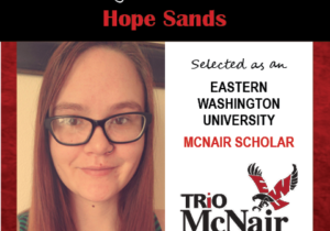 Photo of Hope Sands next to text congratulating her with red textured border.