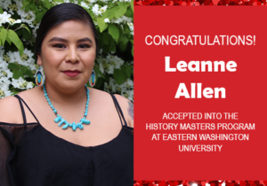 Photo of Leanne Allen next to text announcing her acceptance to grad school, red confetti in the background