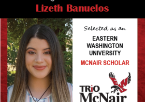 Photo of LIzeth Banuelos next to text congratulating her with red textured border.