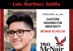 Photo of Luis Martinez Antillo next to text congratulating him with red textured border.