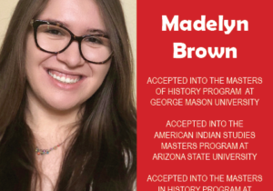 Photo of EWU McNair Scholar Madelyn Brown next to red confetti backdrop and text congratulating her on acceptance to multiple masters programs.