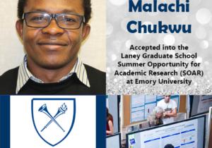 Photo of Malachi Chukwu next to logo of Emory University and photo of undergrads talking beside research posters.