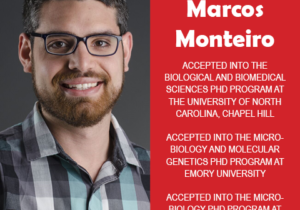 Photo of Marcos Monteiro next to text congratulating him for acceptance in three PhD programs.