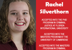 Photo of Rachel Silverthorn beside text congratulating her for acceptance into graduate school