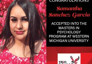 Samantha Sanchez Graduate School Acceptances 2021 WMU