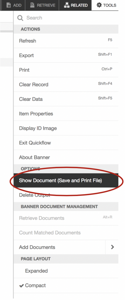 """Showing the """"Show Document"""" selection under the """"Tools"""" menu."""