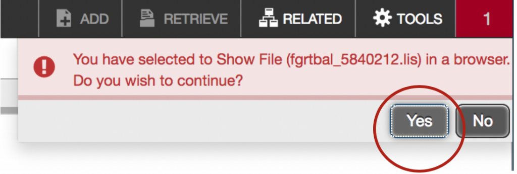 """Showing a popup that may appear when trying to view the output. Select """"Yes."""""""