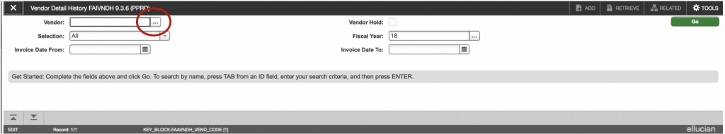 """Showing the ellipses next to the """"Vendor"""" dialog to click and select the FTIIDEN form."""