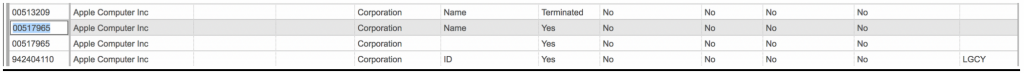 Screenshot showing an example of a vendor list to select from.