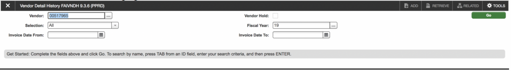 """Screenshot showing the a vendor number populated in the """"Vendor"""" dialog."""