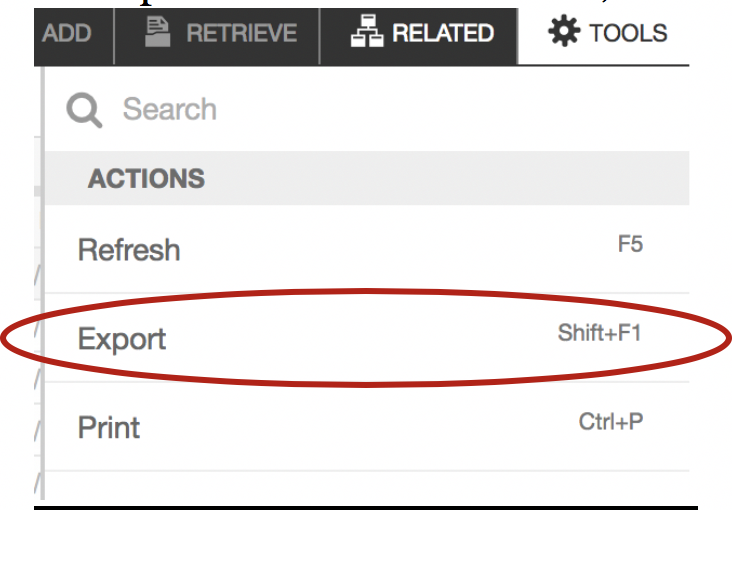 """Screenshot showing where to """"Export"""" the output under the """"Tools"""" menu."""