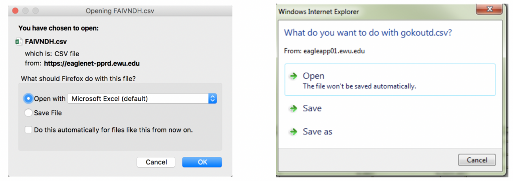 Screenshot showing two different dialogs that may pop up to ask what to do with the exported file.