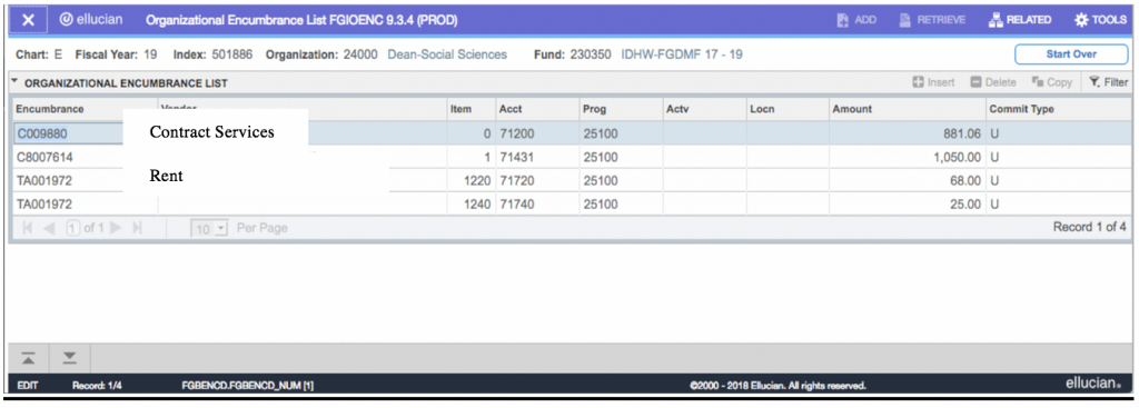 Screenshot showing the output when encumbrances are available to view.