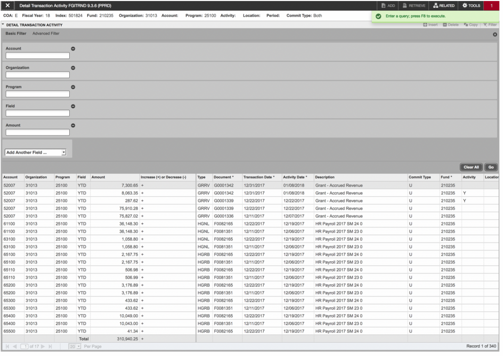 Screenshot showing the Detail Transaction Activity filter dialog and resulting output.