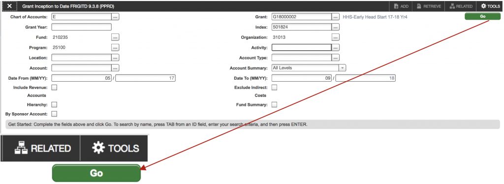 Shows the FRIGITD query screen. Use the tab key on the keyboard to navigate fields to enter relevant index and dates.