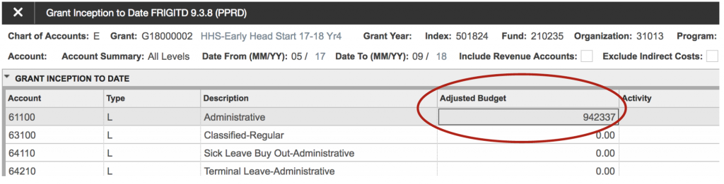 """Shows how to activate the """"Adjusted Budget"""" field by inserting the cursor into it as a step to learn more about a specific line item."""