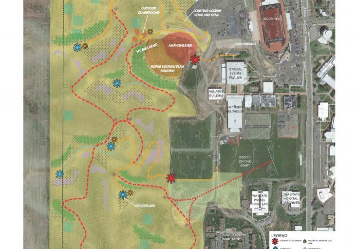 Large map that shows the conceptual master plan for the Restoration project. The map shows the perimeters of the area, where paths are to be created, and designated areas based off of the legend in the bottom right corner.