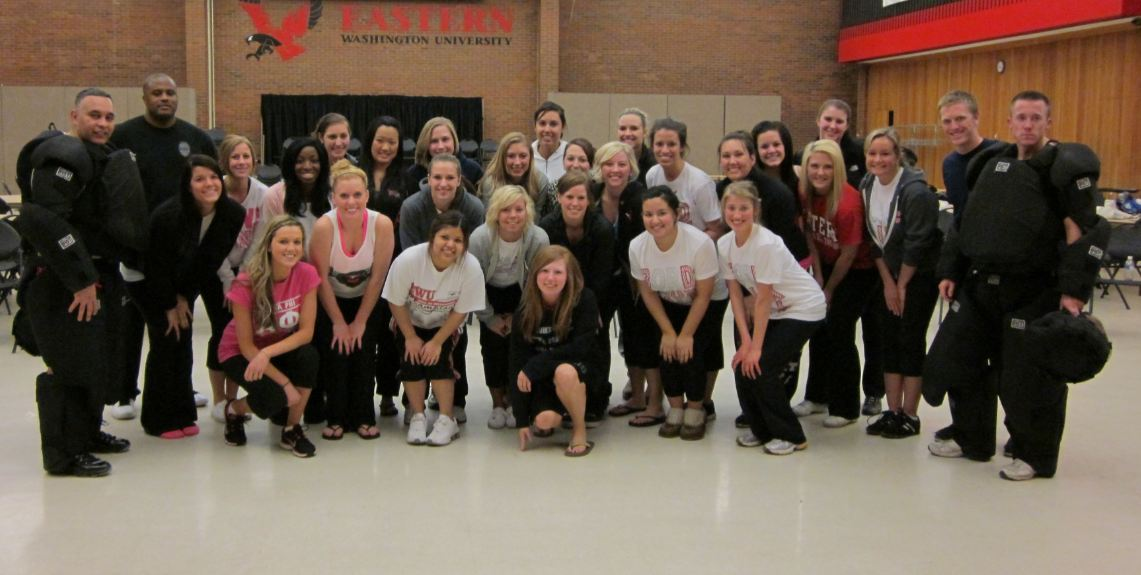 EWU Officers with a group of self defense students.