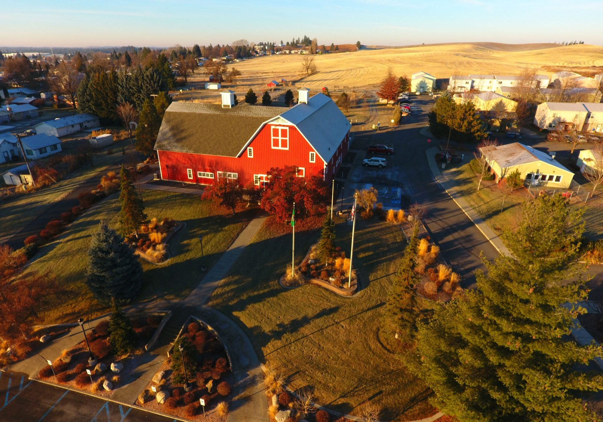 Red Barn photographed from a drone