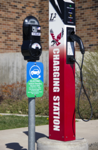 Electric vehicle charging station located by Computing and Engineering Building
