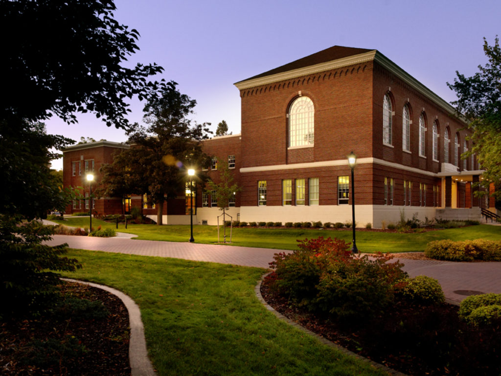 Hargreaves hall pictured at dusk.