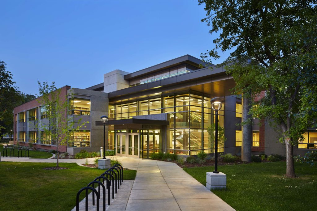 Patterson hall pictured at dusk.