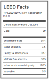 LEED Fact sheet for URC gives info as to what makes it a green building.