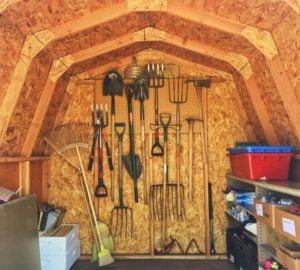 Inside of a shed with pitch forks all organized along the back wall.