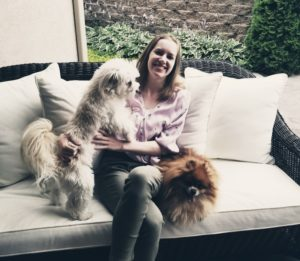 Kelsey with her dogs.