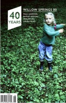 Willow Springs Issue 80 cover shows photo of little girl in rain boots standing in ivy.