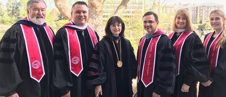President Cullinan with the Board of Trustees at Semester Commencement in Spokane