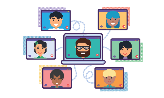 An image of many people communicating via video conference. The image demonstrates popularity of the center.